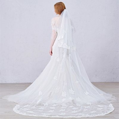 Sexy Mermaid 3/4 Long Sleeve Lace Bridal Gown Custom Made Plus Size  Wedding Dress_5