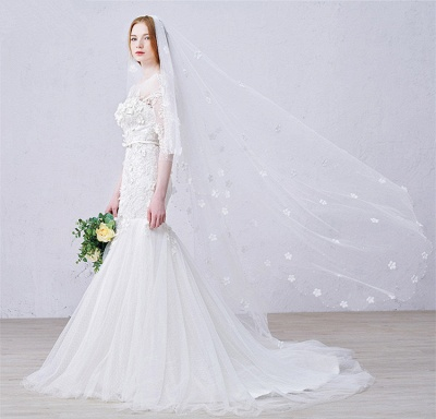 Sexy Mermaid 3/4 Long Sleeve Lace Bridal Gown Custom Made Plus Size  Wedding Dress_4