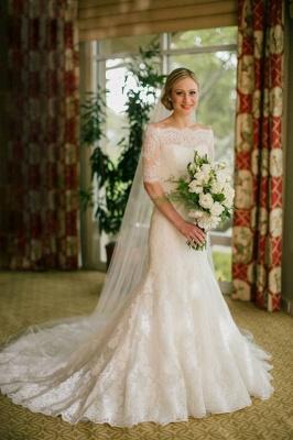 Half Sleeve Bateau Lace Wedding Dress Sheath Court Train  Bridal Gown_1