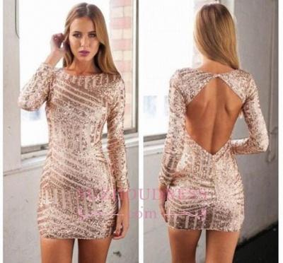 Jewel Mini Sequined Newest Long Sleeve Homecoming Dress_1