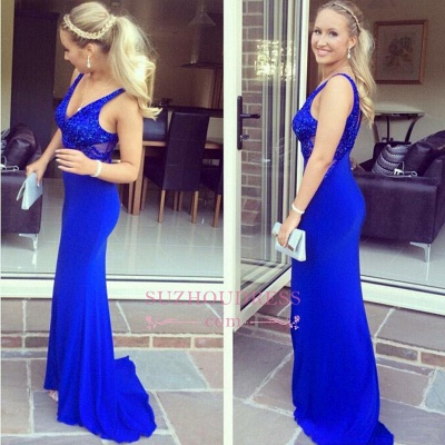 Mermaid V-Neck Long Prom Dress Sequined Sexy Royal Blue Evening Dresses_1
