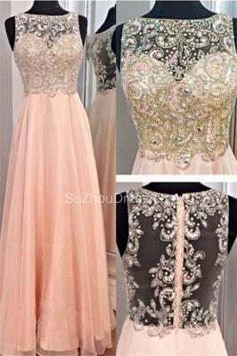 Bateau A-Line Elegant Prom Gowns  Chiffon Zipper Evening Dresses with Beadings_1