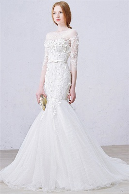 Sexy Mermaid 3/4 Long Sleeve Lace Bridal Gown Custom Made Plus Size  Wedding Dress_2