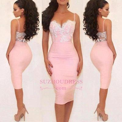 Pink Short Evening Dress  Spaghetti Straps Lace Glamorous Prom Dress_1