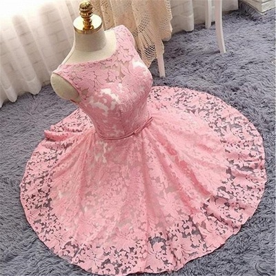 Lovely Pink Lace Short Summer Party Dress | Sleeveless  Mini Homecoming Dress_3