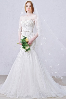 Sexy Mermaid 3/4 Long Sleeve Lace Bridal Gown Custom Made Plus Size  Wedding Dress_1