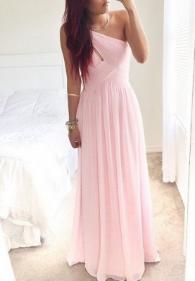 One Shoulder Pink Chiffon Prom Dress Ruffles A-Line Floor Length Summer Dresses_1
