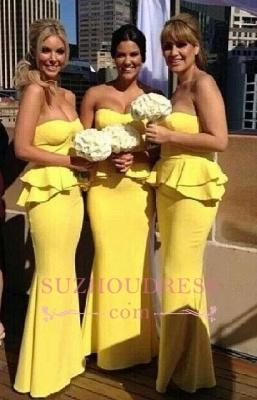 Mermaid Bright Yellow  Wedding Party Dress Ruffles Long Peplum Bridesmaid Dresses_1