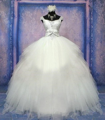 Luxurious Crystal Ball Gown Princess Dress with Beadings Tulle Bowknot Lace-Up Wedding Gown_1