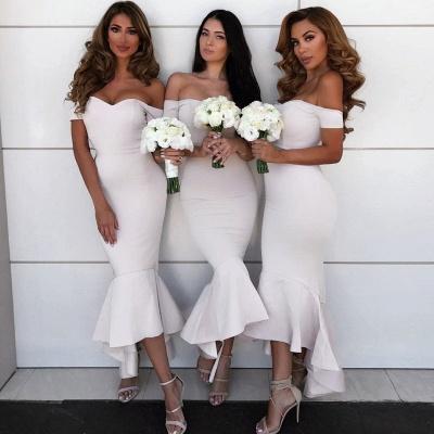 Simple Hi-Lo Mermaid Bridesmaid Dresses  | Off Shoudler Zipper Wedding Party Dress_4