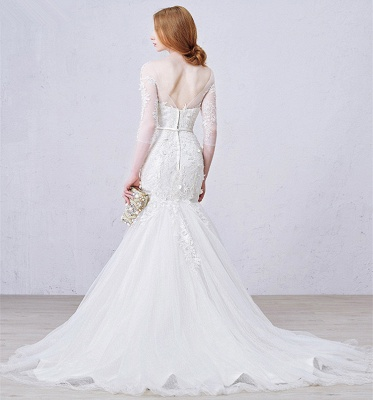 Sexy Mermaid 3/4 Long Sleeve Lace Bridal Gown Custom Made Plus Size  Wedding Dress_3