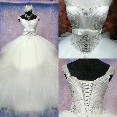 Luxurious Crystal Ball Gown Princess Dress with Beadings Tulle Bowknot Lace-Up Wedding Gown_5