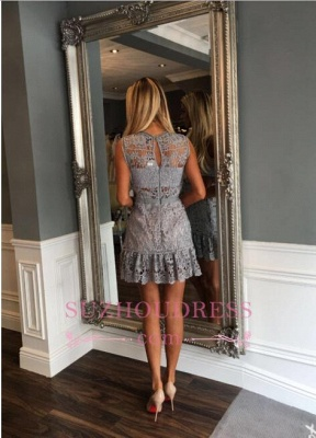 Delicate Sleeveless  Illusion Lace A-line Mini Homecoming Dress_3