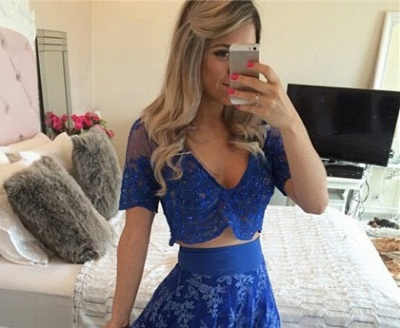 Blue Short Sleeve Two Pieces Prom Dress V-Neck Lace Floor Length Formal Occasion Dress_3