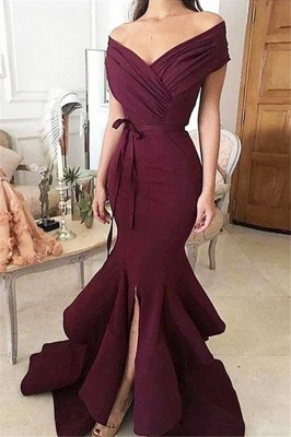 Burgundy Off-the-Shoulder Mermaid Prom Dresses  Ruffles Front-Split Evening Dresses BA7997_1