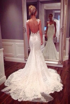 Sexy Lace Spaghetti Strap Mermaid Wedding Dress Latest Court Train Open Back  Bridal Gowns_2