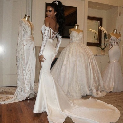 Glamorous Wholesale Sweetheart Lace-Up Wedding Dresses Fit and Flare Satin Bridal Gowns Online_3
