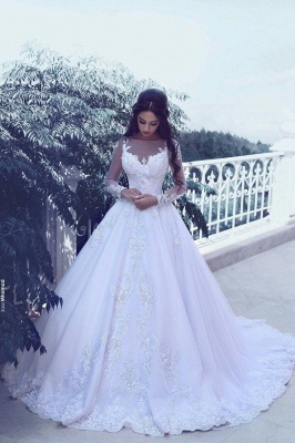 Elegant Tulle Appliques Long Sleeves Wedding Dresses  Bridal Ball Gowns_1
