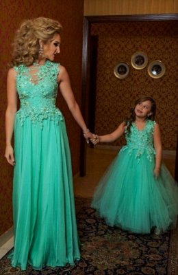 Green Cute Pretty Flower Girls Dresses Tulle Ball Gown Princess Lovely Pageant Dresses_1