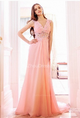 Pink Bridesmaid Dresses  V Neck Sleeveless Sweep Train Appliques See Through Beading Sequins Party Gowns_1