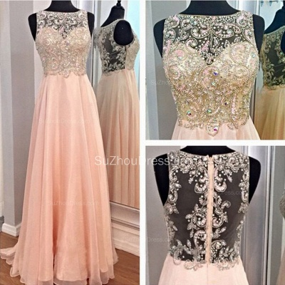 Bateau A-Line Elegant Prom Gowns  Chiffon Zipper Evening Dresses with Beadings_2