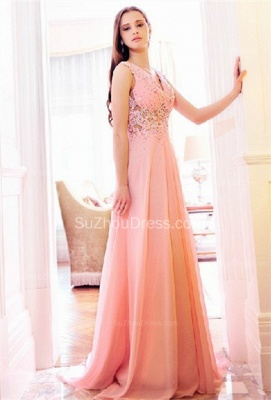 Pink Bridesmaid Dresses  V Neck Sleeveless Sweep Train Appliques See Through Beading Sequins Party Gowns_3
