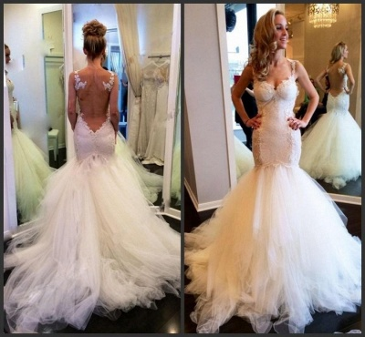 Sexy Mermaid Tulle Spaghetti Strap Wedding Dresses White Floor Length Trumpet Lace Bridal Gowns_2
