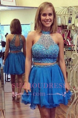 Halter Gorgeous Mini Crystals Two-Piece A-line Homecoming Dress_1