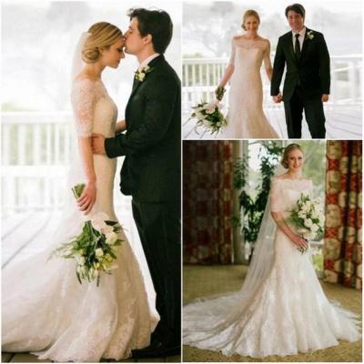 Half Sleeve Bateau Lace Wedding Dress Sheath Court Train  Bridal Gown_3