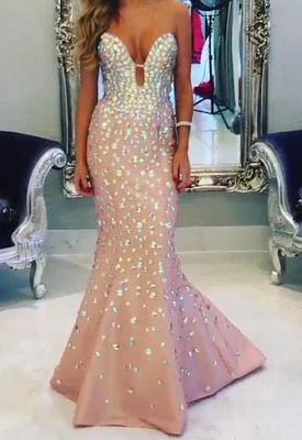 White Sexy Crystal Mermaid Long Evening Dress New Arrival Trumpet Sequins Formal Occasion Dresses_2