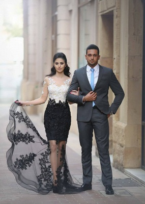 Gorgeous Black and White Long Sleeve Prom Dress Lace Crystal Tulle  Evening Gowns BA6242_3