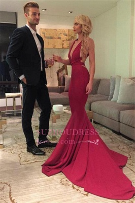 Mermaid Open Back Sexy Formal Dress Deep V-Neck Red Sleeveless Prom Dress qq0289_2