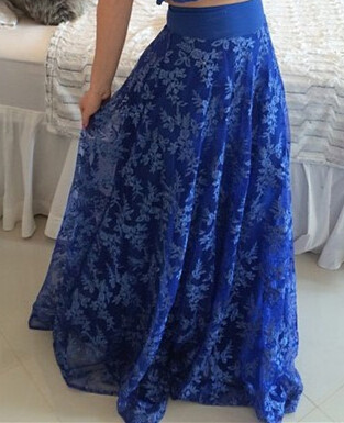 Blue Short Sleeve Two Pieces Prom Dress V-Neck Lace Floor Length Formal Occasion Dress_4