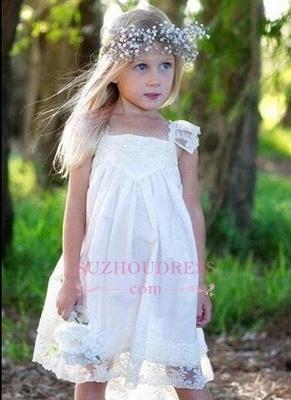 Cute Crisscross Back Capped Sleeves  Flower Girls Dresses_1
