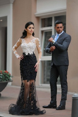 Gorgeous Black and White Long Sleeve Prom Dress Lace Crystal Tulle  Evening Gowns BA6242_1