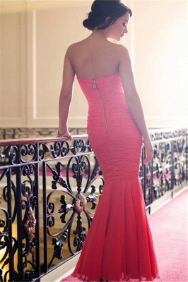 Red Sweetheart Ruffled Evening Dresses  Sexy Open Back Bridesmaid Dress_3