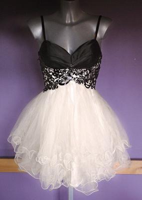 Mini Organza Black and White Homecoming Dress V-neck Sweet Multi-Layered Evening Dresses_1
