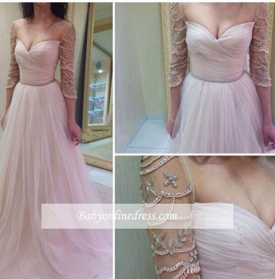 A-Line Sleeves Tulle Ruffles Delicate Sweetheart Beadings Prom Dresses_1