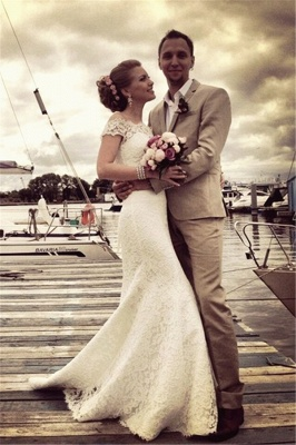 Mermaid Lace Off-the-shoulder Bridal Dress Half Sleeves  Wedding Dress_4