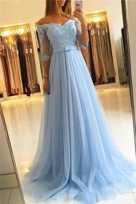 Modest Tulle Lace Off-the-Shoulder Sweetheart Prom Dress Half Sleeve Appliques Formal Dresses with Belt_4