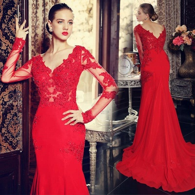V-Neck Red Long Sleeve Beading Evening Dress Popular Chiffon Lace Sweep Train Prom Dress_3