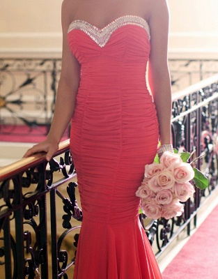 Red Sweetheart Ruffled Evening Dresses  Sexy Open Back Bridesmaid Dress_4