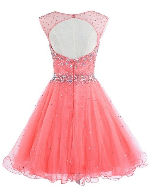 Latest Pink Beadings Mini Homecoming Dress Popular Custom Made Zipper Short Cocktail Dresses_2