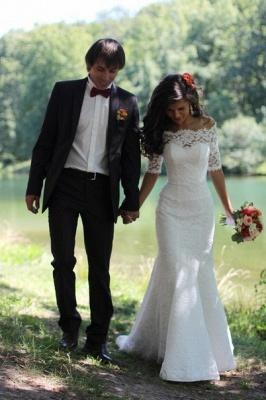Mermaid Lace Off-the-shoulder Bridal Dress Half Sleeves  Wedding Dress_5