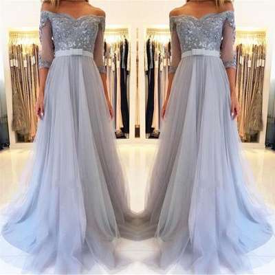 Modest Tulle Lace Off-the-Shoulder Sweetheart Prom Dress Half Sleeve Appliques Formal Dresses with Belt_3