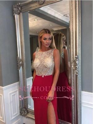 Front Split Jewel Sleeveless Gorgeous Sweep Train  Crystals Prom Dress_6