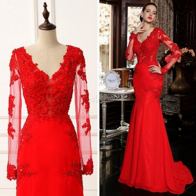 V-Neck Red Long Sleeve Beading Evening Dress Popular Chiffon Lace Sweep Train Prom Dress_4