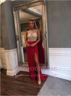 Front Split Jewel Sleeveless Gorgeous Sweep Train  Crystals Prom Dress_1