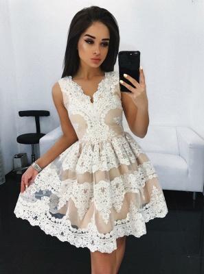 Sleeveless V-neck Lace Mini Homecoming Dresses | Light Champagne  Short Hoco Dress_1