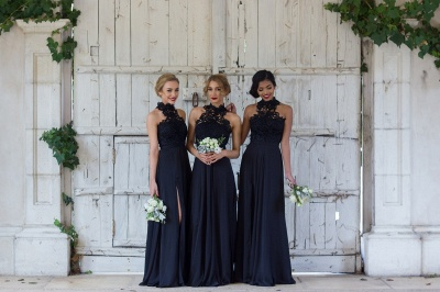 Halter Lace Chiffon Bridesmaid Dress with Split Sleeveless  Sexy Maid of Honor Dresses BA7430_3